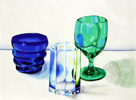Three glasses in Prismacolor by Christine Boyce